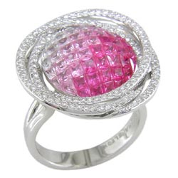 L1583 18KW Pink Sapphire and Diamond Ring
