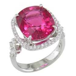 L1587 18KW Rubellite and Diamond Ring