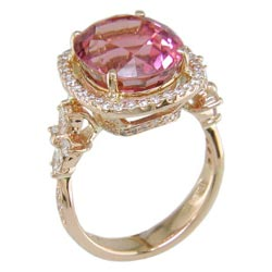 L1587 18KR Pink Tourmaline and Diamond Ring