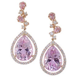 E1597 18KR Kunzite, Rose Quartz, & Diamond Earrings