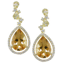 E1597 18KT Citrine, Yellow Sapphire, & Diamond Earrings