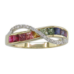 L1633 18KT/KW Rainbow Sapphire and Diamond Ring
