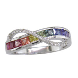 pin diamond ring gold gemstone multicolor rings channel sapphire carat set rainbow white