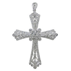 P1640 18KW Diamond Cross Pendant