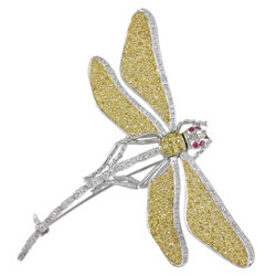 P1677 18KW/KT Assorted Sapphire & Diamond Dragonfly Pin