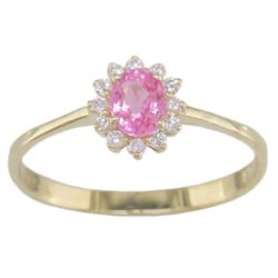 L1715 18KT Pink Sapphire and Diamond Ring