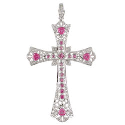 P1725 18KW Pink Sapphire and Diamond Cross Pendant