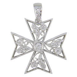 P1763 18KW Diamond Cross Pendant