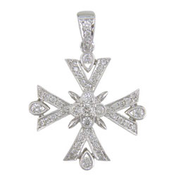 P1765 18KW Diamond Cross Pendant