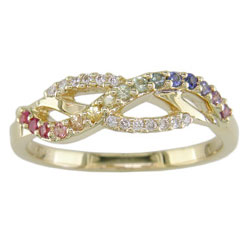 L1827 18KT Rainbow Sapphire and Diamond Ring