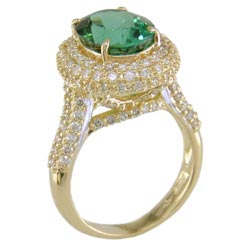 L1831 18KT Green Tourmaline and Diamond Ring