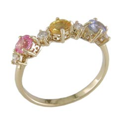 L1841 14KT Assorted Sapphire and Diamond Ring