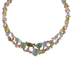 N1850 18KT Semi-Precious Stone, Sapphire, and Diamond Necklace