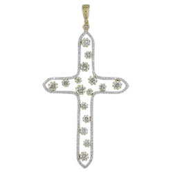 P1881 18KW/KT Yellow & White Diamond Cross Pendant
