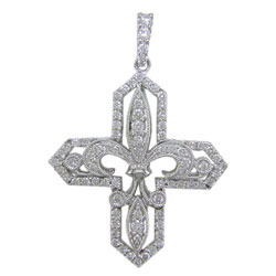 P1885 18KW Diamond Cross Pendant
