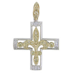 P1886 18KW/KT Yellow & White Diamond Cross Pendant