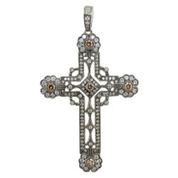 P1898 18KW Cognac & White Diamond Cross Pendant