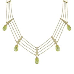 N1910 18KT Lemon Quartz and Diamond Necklace