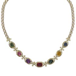 N1933 18KT Assorted Sapphire and Diamond Necklace