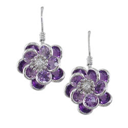 E1990 18KW Amethyst & Diamond Flower Earrings