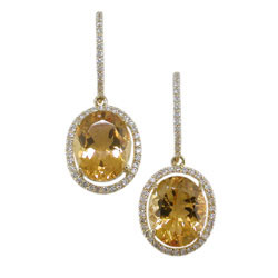 E1991 18KT Citrine & Diamond Earrings