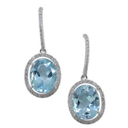E1991 18KW Topaz & Diamond Earrings
