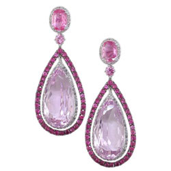 E1992 18kw Kunzite Pink Shire And Diamond Earrings