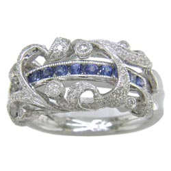 L1998 18KW Sapphire and Diamond Ring