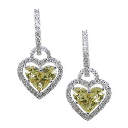 E2044 18KW Yellow Sapphire & Diamond Earrings