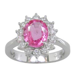 L2049 18KT Pink Sapphire and Diamond Ring