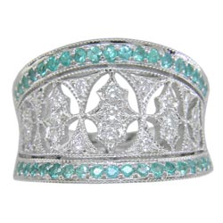 L2063 18KW Brazilian Paraiba and Diamond Band
