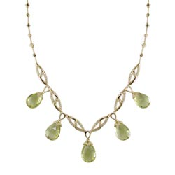 N2069 18KT Lemon Quartz and Diamond Necklace