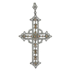 P2097 18KW Diamond Cross Pendant