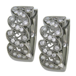 E2100 18KT Diamond Earrings with Black Rhodium Plating