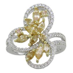 L2103 18KW-KT Yellow & White Diamond Ring