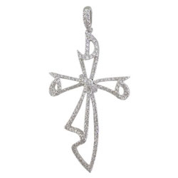 P2141 18KW Diamond Cross Pendant