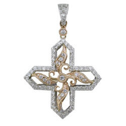P2152 18KW/KR Diamond Cross Pendant