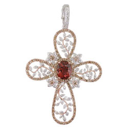 P2211 18KT Salmon Tourmaline, Champagne & White Diamond Cross