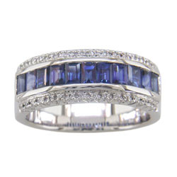 L2246 18KW Sapphire and Diamond Band