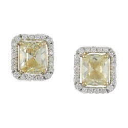 E2269 18KT/KW Yellow Sapphire & Diamond Earrings