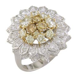 L2288 18KW/KT Yellow & White Diamond Ring