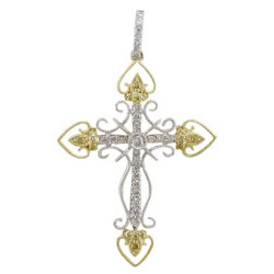 P2301 18KW/KT Yellow & White Diamond Cross Pendant