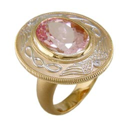 L2308 18KT Morganite & Diamond Ring