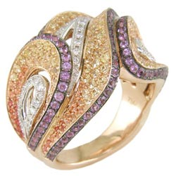 L2312 18KT/KW/KR Yellow & Orange Sapphire, Amethyst, and Diamond