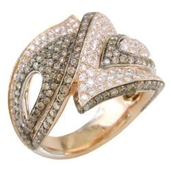 L2313 18KR Diamond and Champagne Diamond Ring