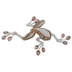 P2317 18KW/KR Assorted Sapphire & Diamond Frog Pin