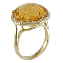 L2322 18KT Citrine & Diamond Ring