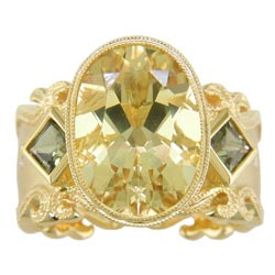 L2328 Yellow Beryl, Green Sapphire & Diamond Ring