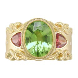 L2328 18KT Peridot, Orange Sapphire & Diamond Ring