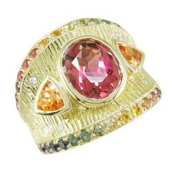 L2330 18KT Tourmaline, Rainbow Sapphire, Garnet and Diamond Ring